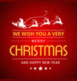 merry christmas greetings design with red vector image