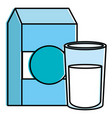 milk box with glass vector image vector image