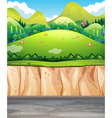 Nature scene with field and cliff vector image vector image