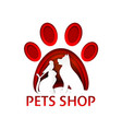 pets shop logo paper cut design template vector image