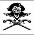 piracy skull and crossed pistols vector image vector image