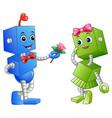 robot boy giving a flower for robot girl vector image vector image