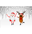 santa claus and funny reindeer in a winter forest vector image vector image