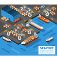 Seaport Isometric Aerial View Poster vector image vector image