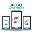 smartphone with internet communication vector image
