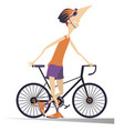 smiling cyclist stays holding a bike isolated illu vector image vector image