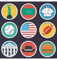 USA flat circle icon set vector image vector image