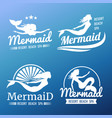 white mermaid labels design vector image