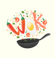 wok logo for thai or chinese restaurant stir fry vector image