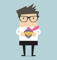 Businessman opening shirt in superhero style vector image