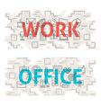 Work Office Line Art Concept vector image