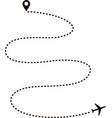 airplane route in dotted line shape vector image vector image
