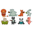 animal characters reading books and studying set vector image