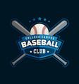 baseball club badge sport logo template vector image vector image