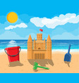 beach with sand castle vector image vector image