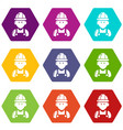 builder icons set 9 vector image