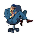 businessman in an office chair looking vector image vector image