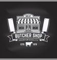 butcher meat shop badge or label with meat store vector image vector image