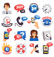 call center colorful icons collection vector image