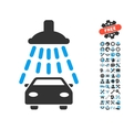 Car Shower Icon With Tools Bonus vector image