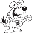 Cartoon dog holding a tennis ball vector image vector image