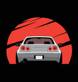 cartoon japan tuned car on red sun background vector image vector image