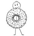 cartoon of smiling man holding big donut or vector image