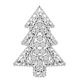 Christmas tree in zentangle style vector image vector image