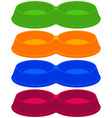 colorful cartoon empty 2 sections pet bowl set vector image vector image