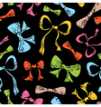 Colourful ornate bows on black background vector image