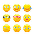 cute cartoon emoticons emoji icons smiley faces vector image vector image