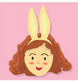 Cute Curly Girl with Rabbit Headband vector image