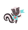 cute little skunk with flag adorable baanimal vector image vector image