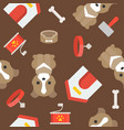 dog dogs house collar and brush seamless pattern vector image
