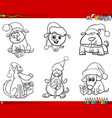 dogs on christmas set coloring book vector image vector image