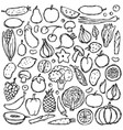 doodle vegetarian food set vector image vector image