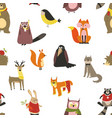 european animals and birds seamless pattern wild vector image
