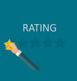 flat design hand with star rating evaluatio vector image vector image
