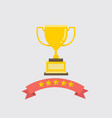 flat gold trophy with ribbon and five stars vector image vector image
