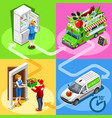 food truck greengrocer vegetable home delivery vector image vector image