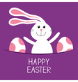Happy Easter Bunny rabbit hareand pained egg in vector image vector image