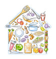 healthy and fresh fruit and vegetable with kitchen vector image vector image