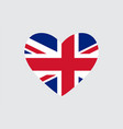 heart in colors of the united kingdom flag vector image