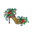high heel decorated with flowers vector image