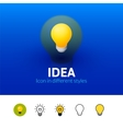 Idea icon in different style vector image vector image