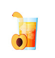 juice peach fresh juicy glass citrus vector image vector image