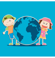 kids holding the world vector image vector image