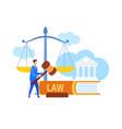lawyer legal advisor holding gavel flat character vector image vector image