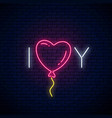 love you text with heart baloon in neon style vector image