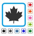 maple leaf framed icon vector image